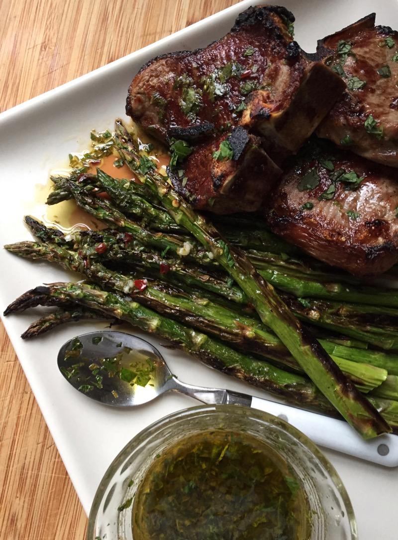 lamb asparagus chimichurri oregano mint sauce