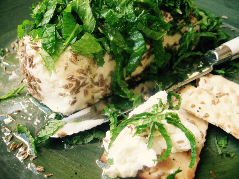 goat cheese mint