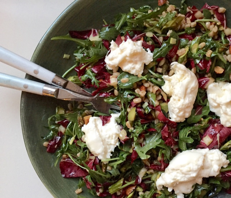 farro burrata salad grain bowl