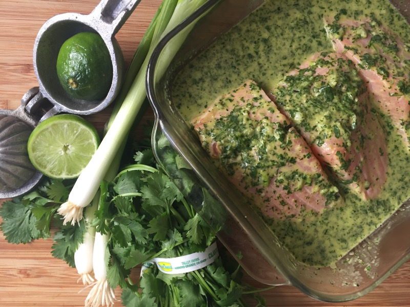 roasted salmon with green chile salsa