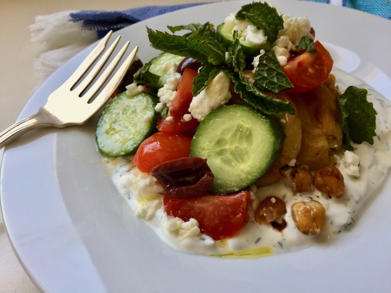 greek salad smashed potatoes chickpeas garbanzos